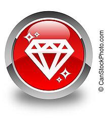 Diamond icon glossy red round button