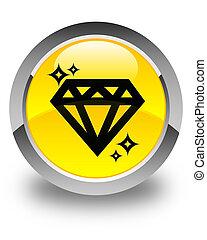 Diamond icon glossy yellow round button