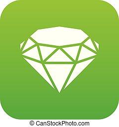 Diamond icon green vector