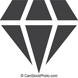 Diamond icon in black on a white background. Vector illustration