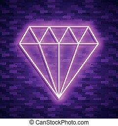 diamond icon in neon style. Vector illustraton