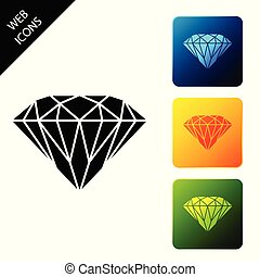 Diamond icon isolated. Jewelry symbol. Gem stone. Set icons colorful square buttons. Vector Illustration