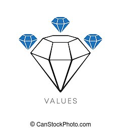 Diamond icon minimal line design. The values symbol isolated on a white background. Vector illustration