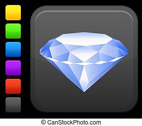 diamond icon on square internet button