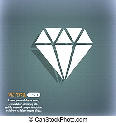 diamond icon. On the blue-green abstract background with shadow and space for your text. Vector