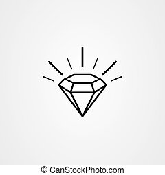 Diamond icon outline vector. Gemstone symbol