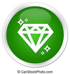 Diamond icon premium green round button