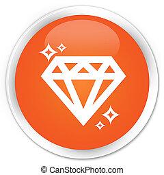 Diamond icon premium orange round button