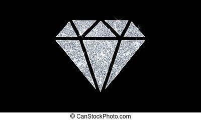 Diamond Icon Shining Glitter Loop Blinking Particles .