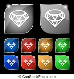 Diamond Icon sign. Set of ten colorful buttons with glare. Vector