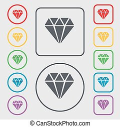 diamond icon sign. symbol on the Round and square buttons with frame. Vector