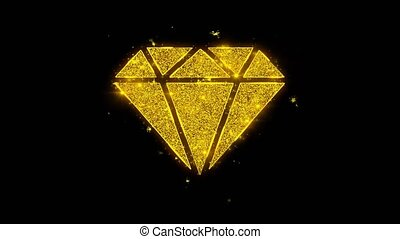 Diamond Icon Sparks Particles on Black Background.