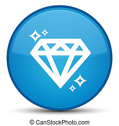 Diamond icon special cyan blue round button