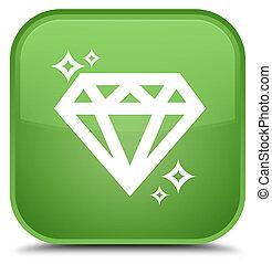 Diamond icon special soft green square button