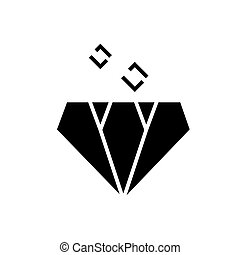 diamond icon, vector illustration, black sign on isolated background