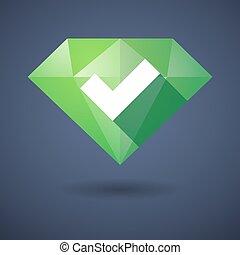 Diamond icon with a check sign