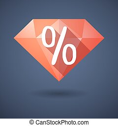 Diamond icon with a discount sign