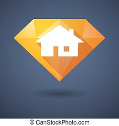 Diamond icon with a house