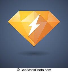 Diamond icon with a lightning