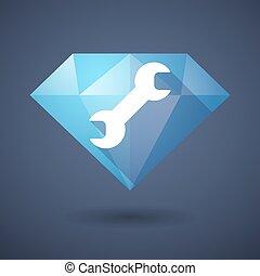 Diamond icon with a monkey wrench