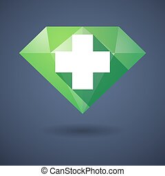 Diamond icon with a pharmacy sign