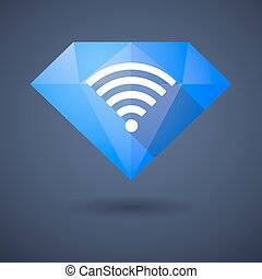 Diamond icon with a radio signal sign