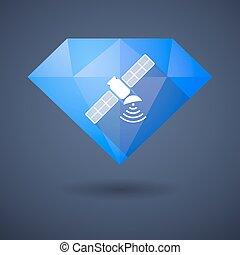 Diamond icon with a satellite