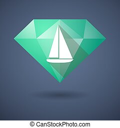 Diamond icon with a ship