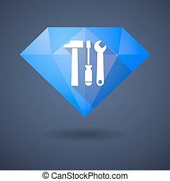 Diamond icon with a tool set