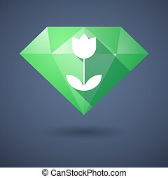 Diamond icon with a tulip