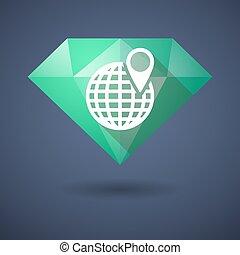 Diamond icon with a world globe