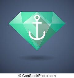 Diamond icon with an anchor