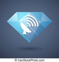 Diamond icon with an antenna