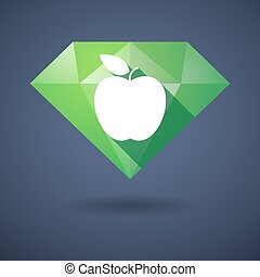 Diamond icon with an apple