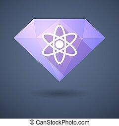 Diamond icon with an atom