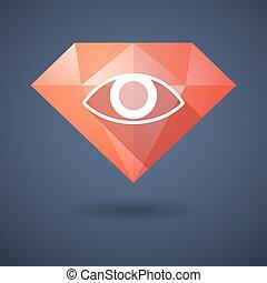 Diamond icon with an eye
