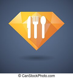 Diamond icon with cutlery