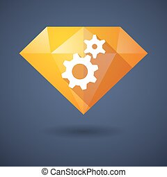 Diamond icon with gears
