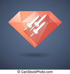 Diamond icon with missiles