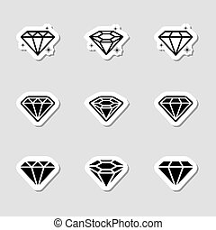 Diamond Icons Set as Labes