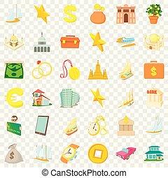 Diamond icons set, cartoon style