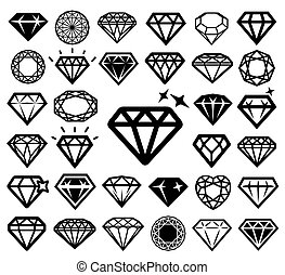 Diamond icons set.