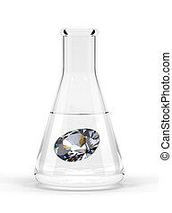 Diamond in a Flask - an alchemy experiment concept image of...