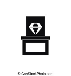 Diamond in box icon, simple style