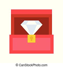 diamond in box, jewelry related icon, flat design