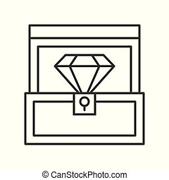 diamond in box, jewelry related, outline icon