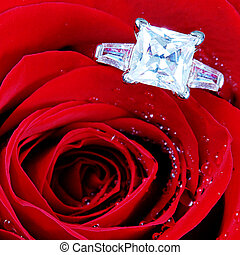 Diamond in case with flowers isolated on white background