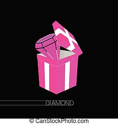 diamond in gift box pink vector on black
