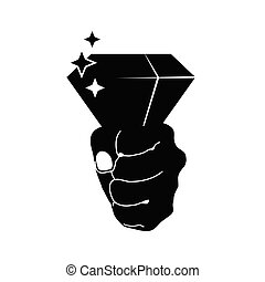 diamond in hand vector on black