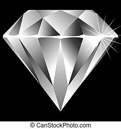 diamond isolated on black background, abstract vector art illustration